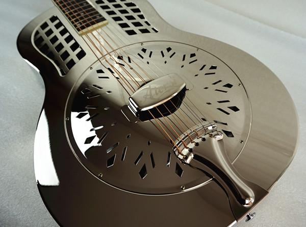 China aiersi chrome -plated gloss brass body single cone dobro guitar (10)
