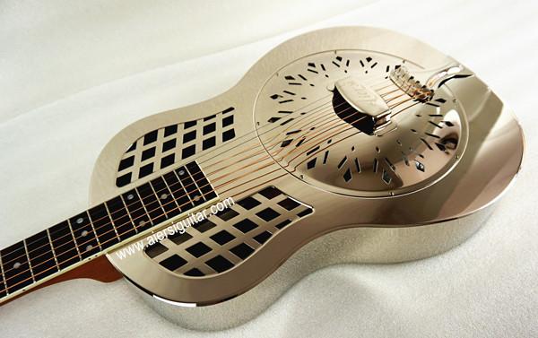 China aiersi chrome -plated gloss brass body single cone dobro guitar (5)