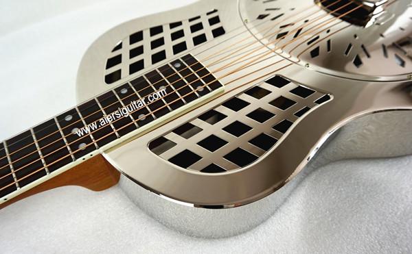 China aiersi chrome -plated gloss brass body single cone dobro guitar (6)