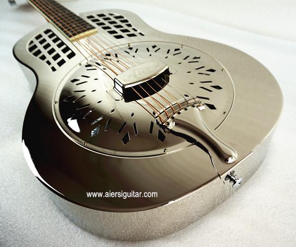 China aiersi chrome -plated gloss brass body single cone dobro guitar (9)
