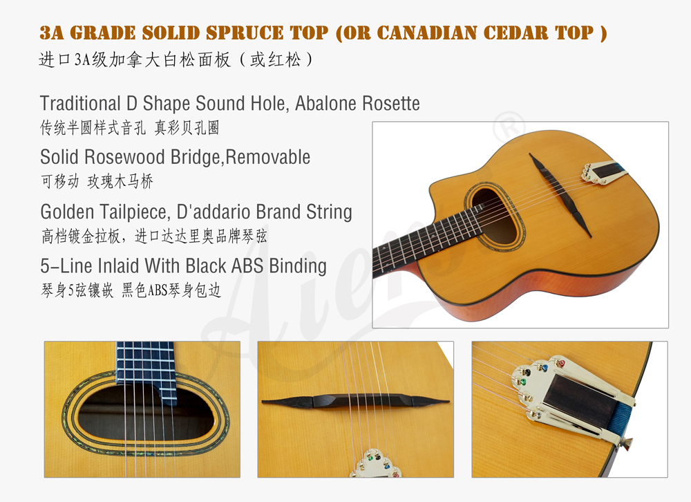 aiersi brand flame maple gypsy guitar for sale (2)