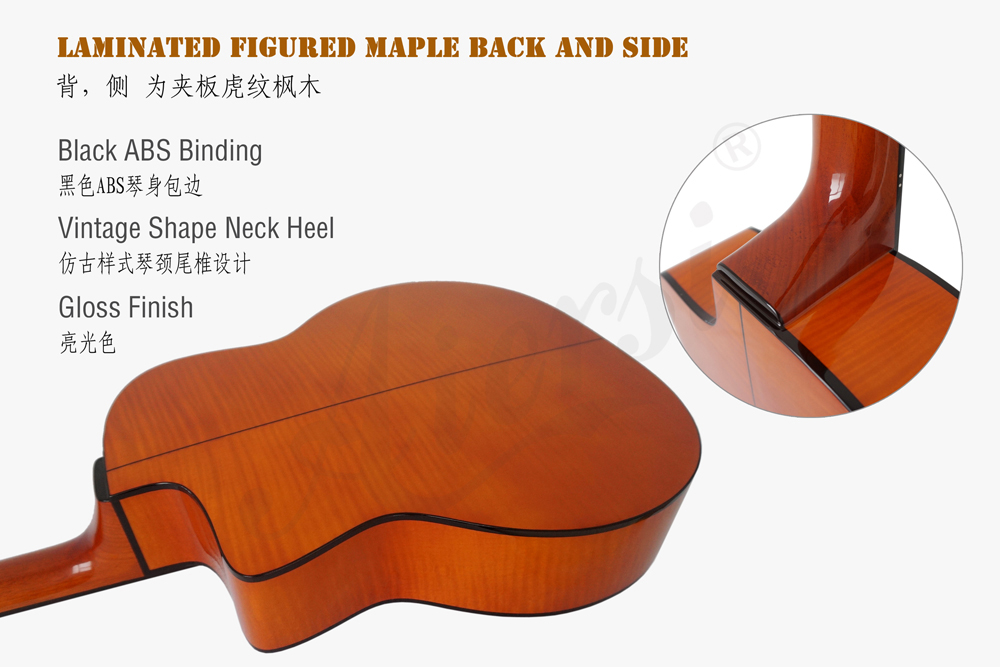 aiersi brand flame maple gypsy guitar for sale (4)