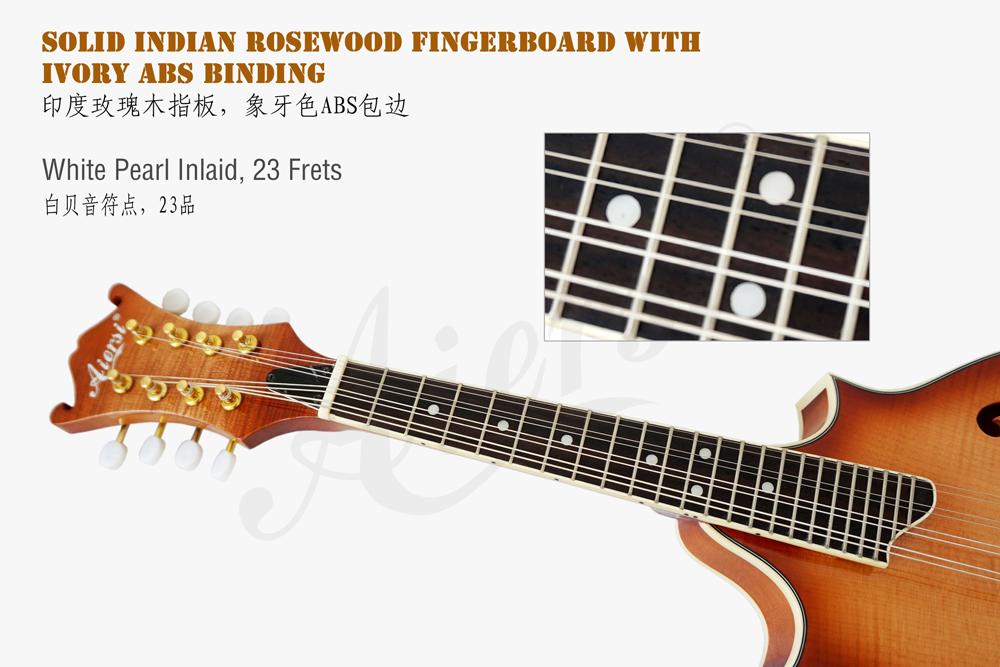 Aiersi brand double cutway flme maple jazz mandolin (3)