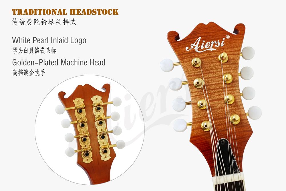 Aiersi brand double cutway flme maple jazz mandolin (4)