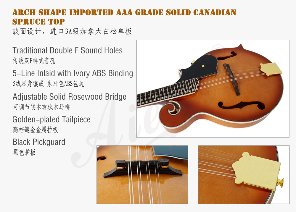 aiersi brand F style solid top mandolin for sale (2)