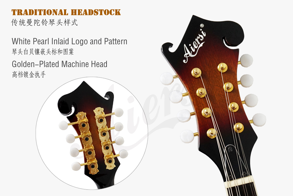 aiersi brand colour plywood body arch body mandolin  (5)