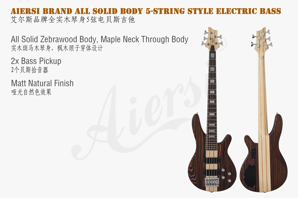 aiersi brand zebrawood body electric bass for sale  (1)