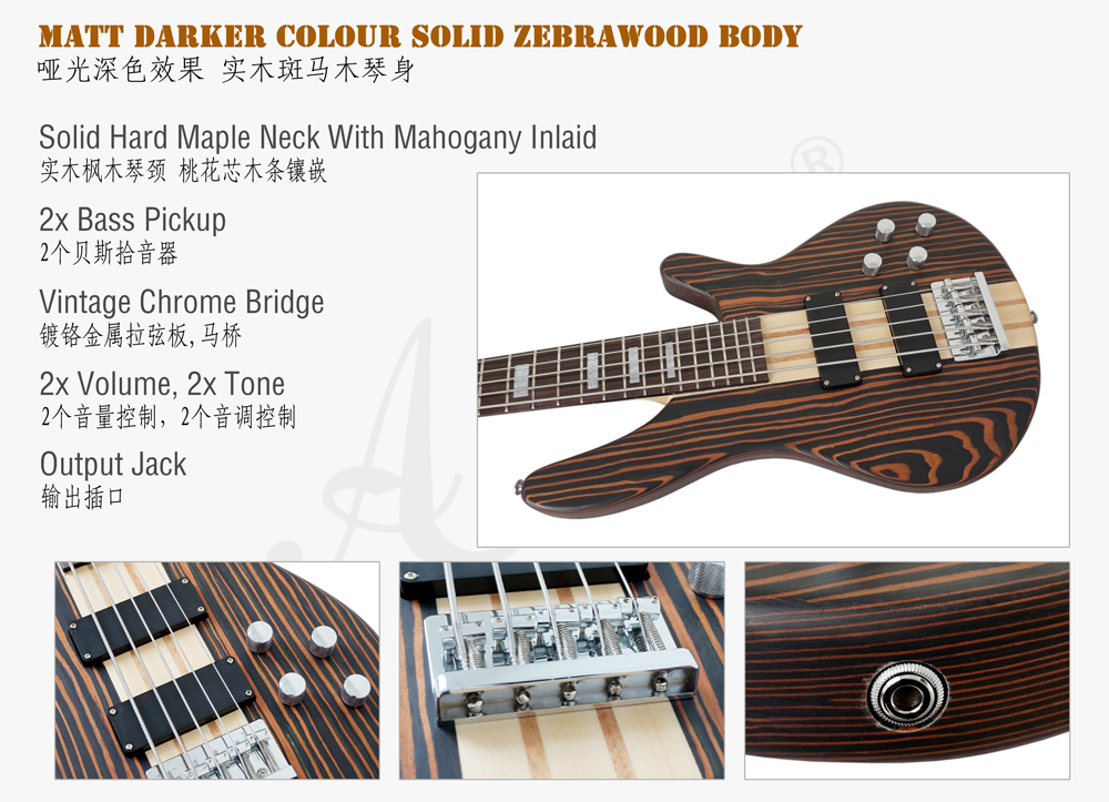 aiersi brand zebrawood body electric bass for sale  (2)