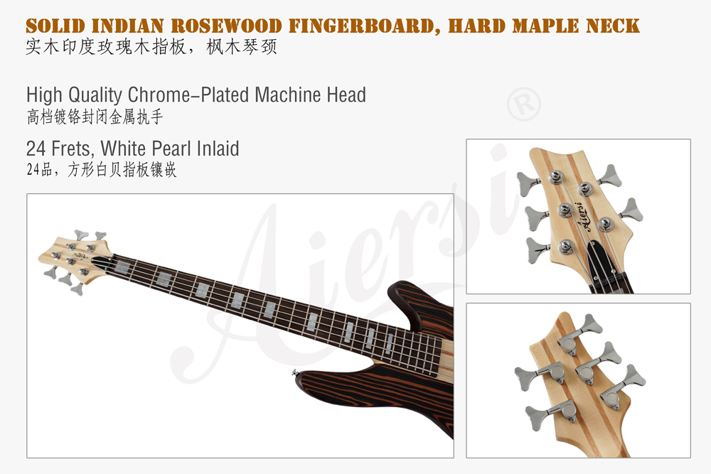 aiersi brand zebrawood body electric bass for sale (3)
