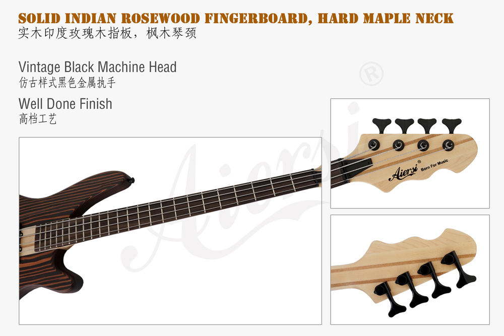 china aiersi solid zebrawood body electric bass  (3)