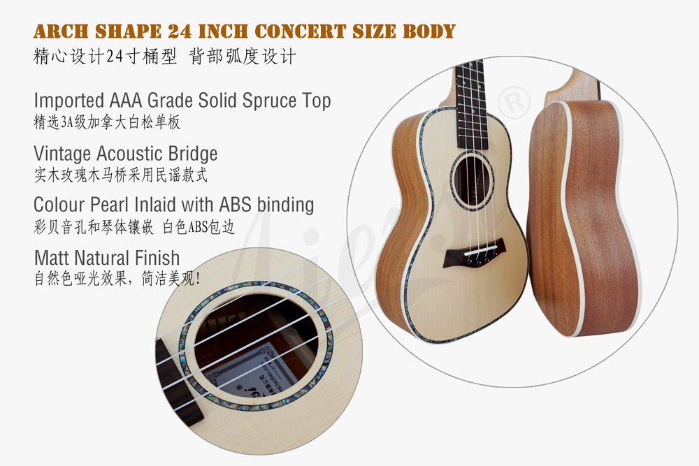 aiersi brand solid spruce concert ukulele for sale (2)