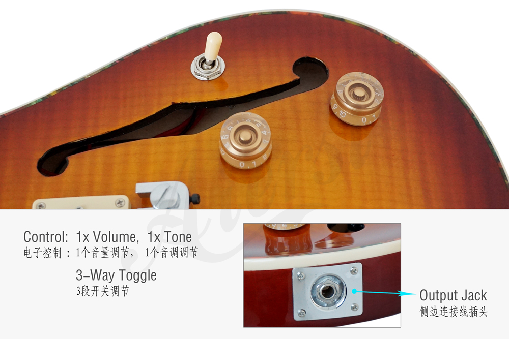 wholesale arch body F hole prs style electric guitar for sale (1)
