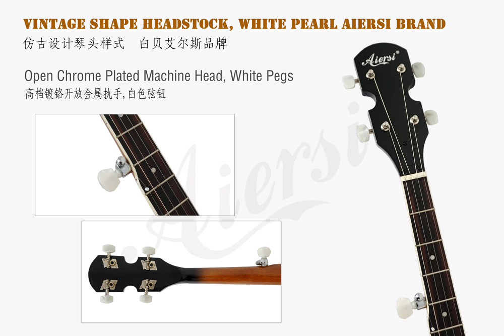 Aiersi brand  headstock for high quality 5-string banjo