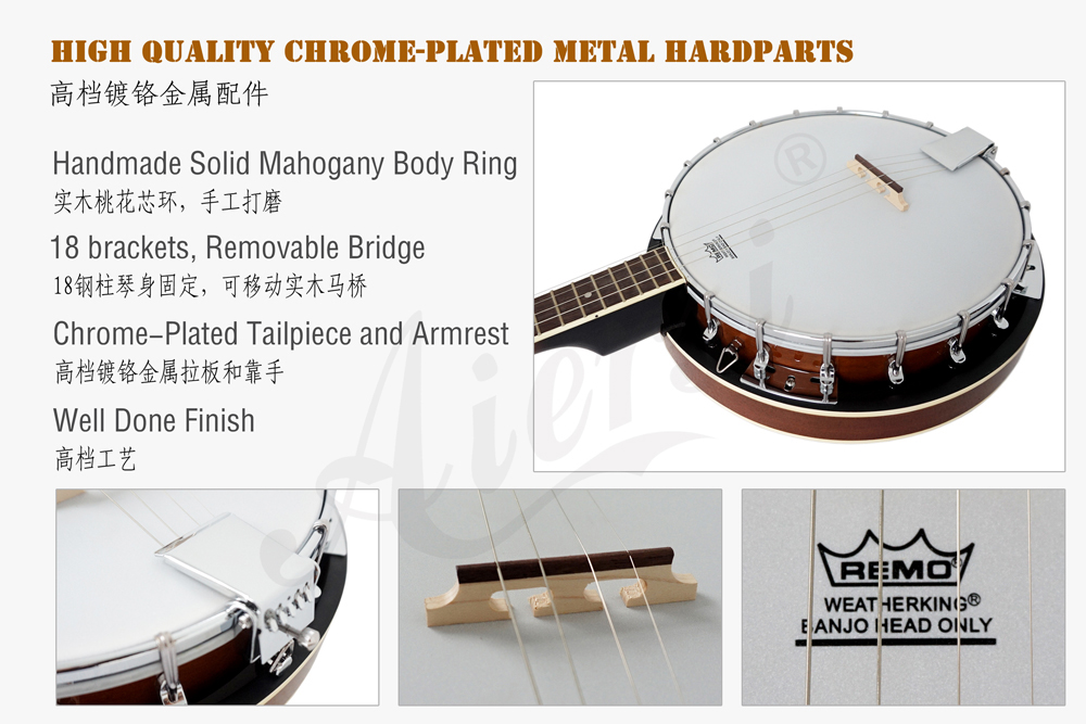 Aiersi brand high quality 4-string banjo  with Remo Skin