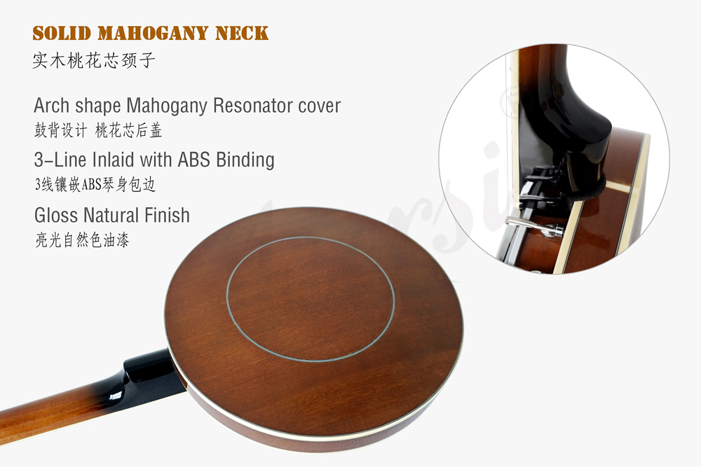 Aiersi brand high quality 5-string banjo  with Mahogany Resonator Cover