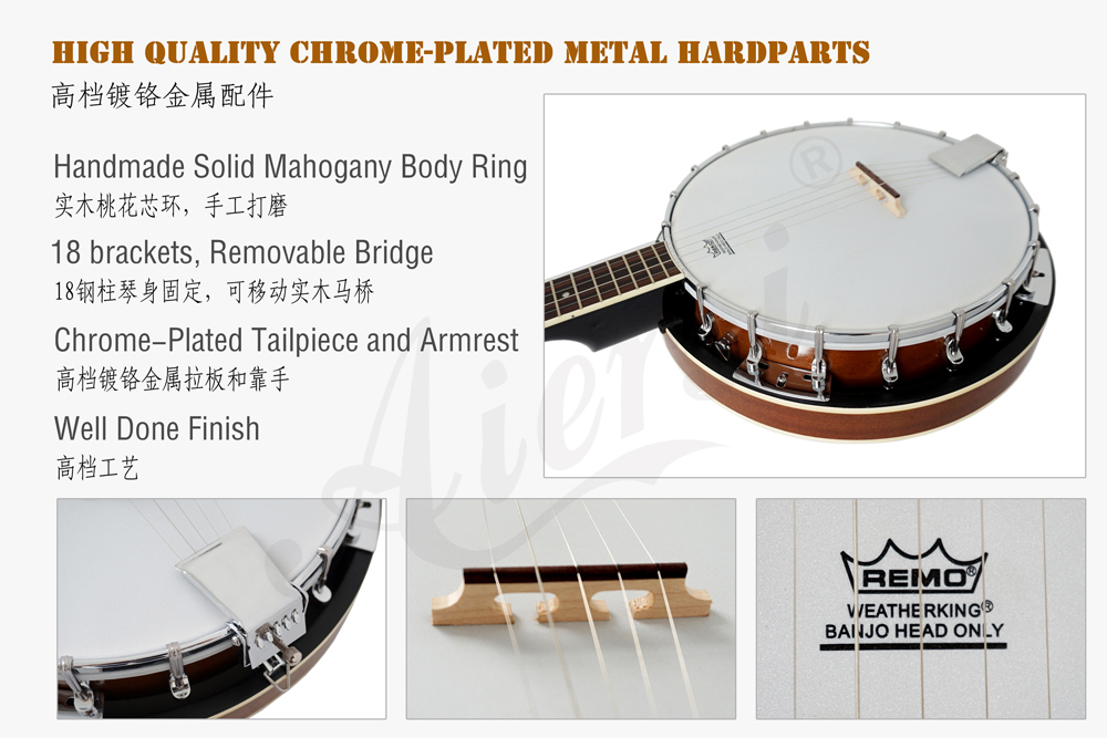 Aiersi brand high quality 5-string banjo  with Remo Skin