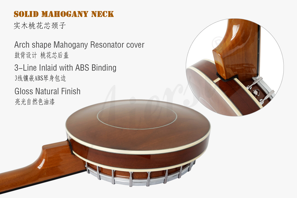 Aiersi brand high quality 6-string banjo  with Mahogany Resonator Cover