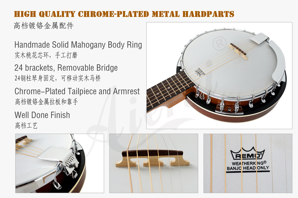 Aiersi brand high quality 6-string banjo  with Remo Skin