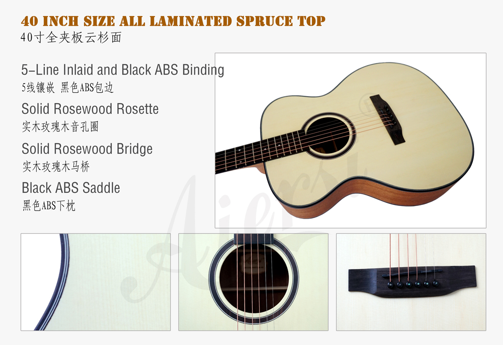 aiersi brand 40 inch OM style acoustic guitar for sale (3)