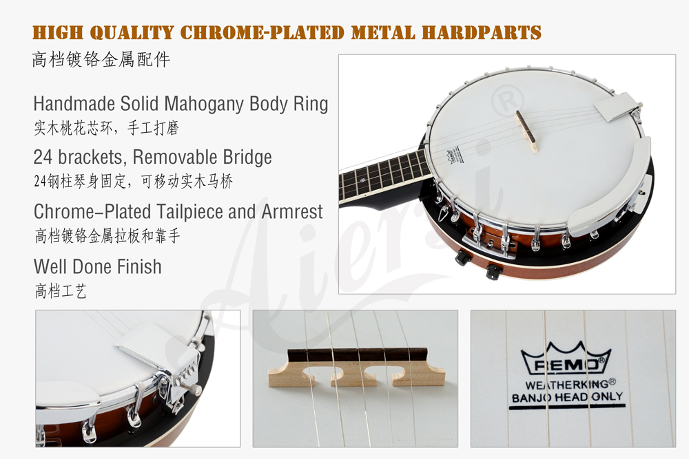 aiersi brand electric 5- string banjo for sale  (3)