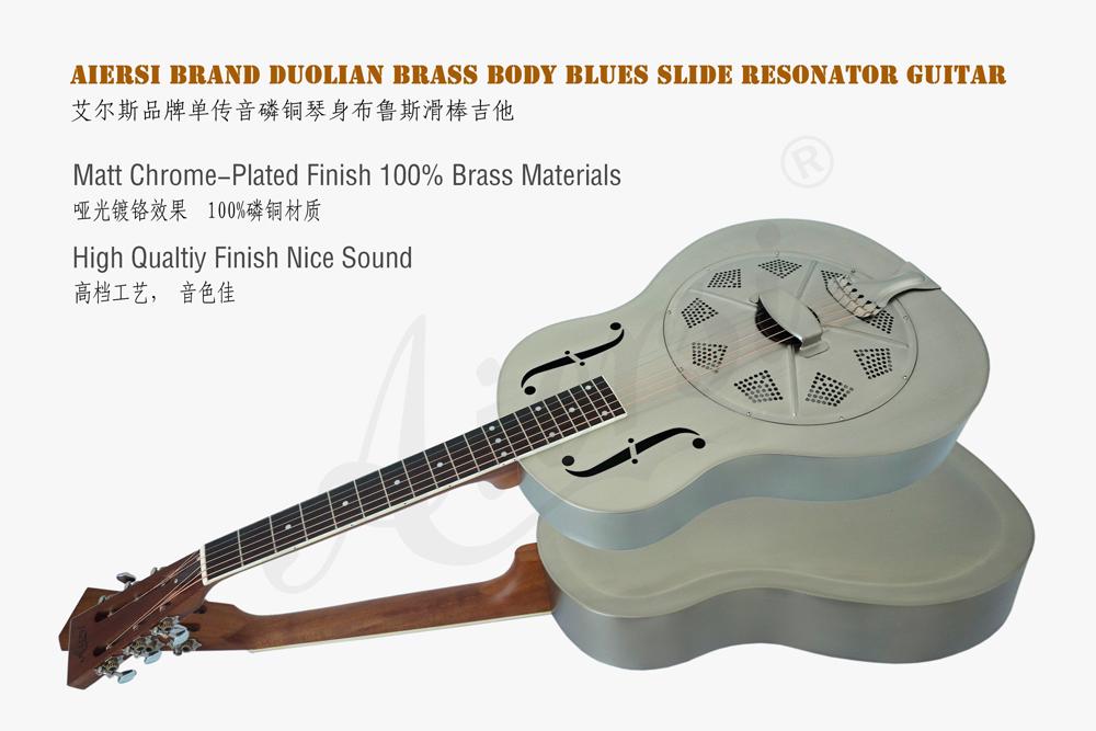 aiersi brand matt finish brass body blues slide resonator guitar (2)