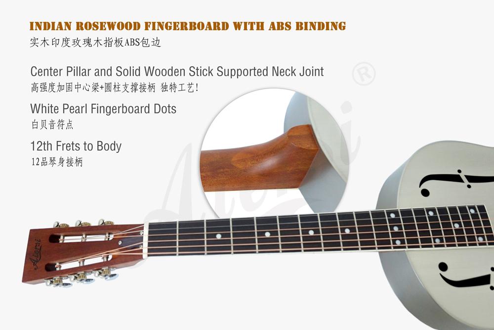 aiersi brand matt finish brass body blues slide resonator guitar (5)