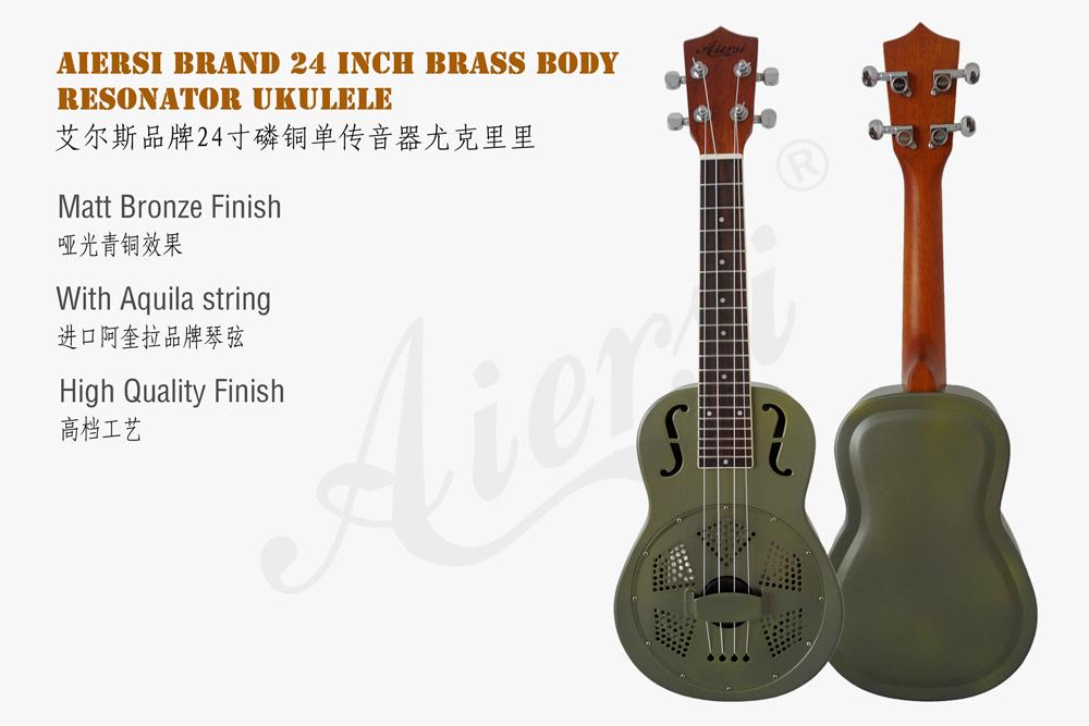 Aiersi brand matt brozen brass body resonator ukulele  (1)