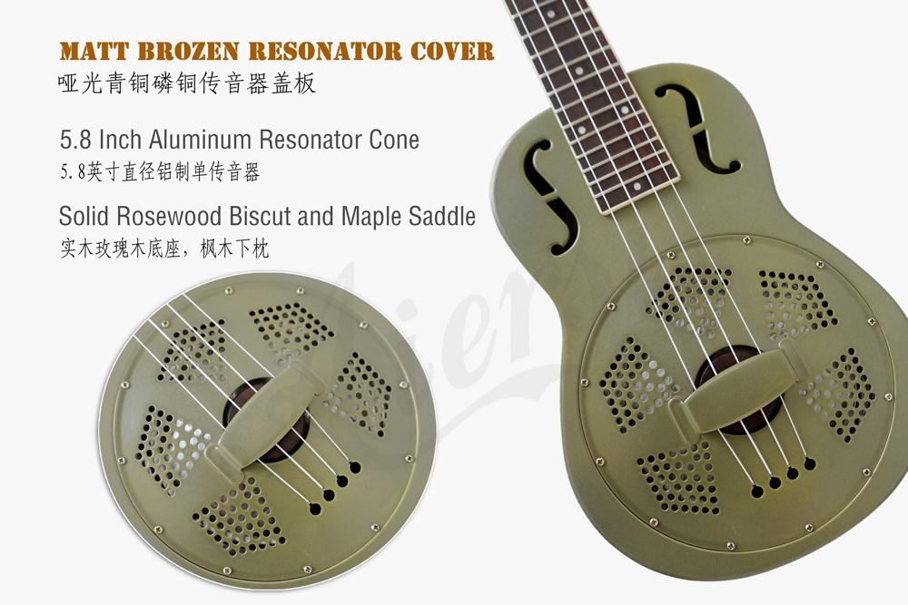 Aiersi brand matt brozen brass body resonator ukulele  (2)