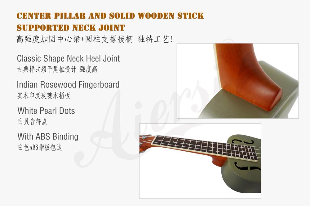 Aiersi brand matt brozen brass body resonator ukulele  (3)