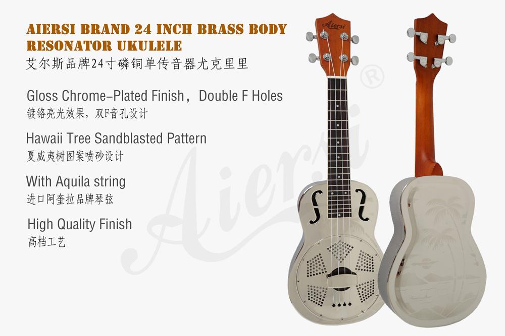 China aiersi brass body resonator ukulele for sale (1)