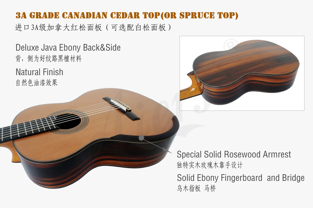aiersi brand deluxe jave ebony smallman guitar  (2)