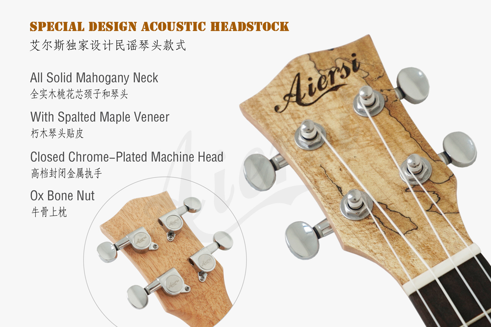 aiersi brand spalted maple plywood concert ukulele (4)