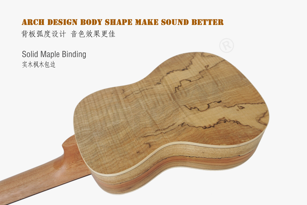 aiersi brand spalted maple plywood concert ukulele (5)