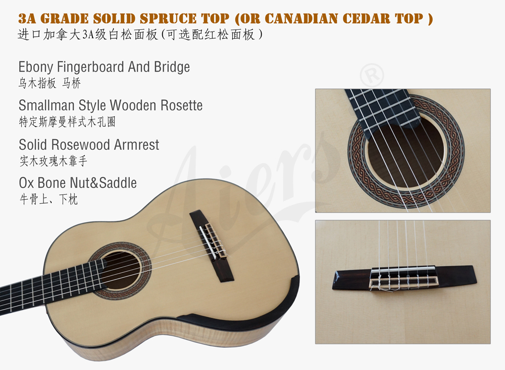 Aiersi smallman guitar with Figured Maple back and side  (3)