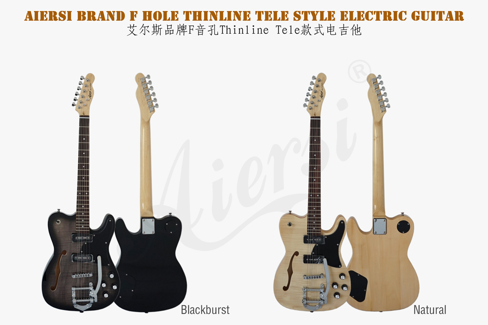 Aiersi brand F hole tele style bigsby electric guitar  (1)