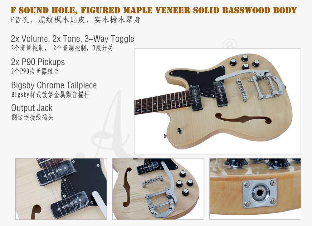 Aiersi brand F hole tele style bigsby electric guitar  (3)