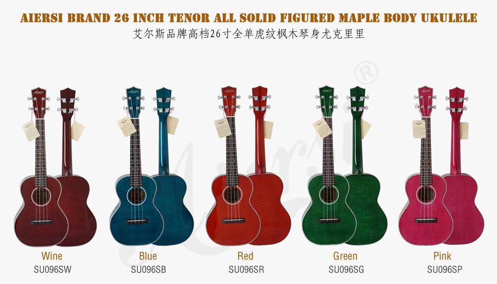 aiersi brand all solid figured maple body tenor ukulele  (1)