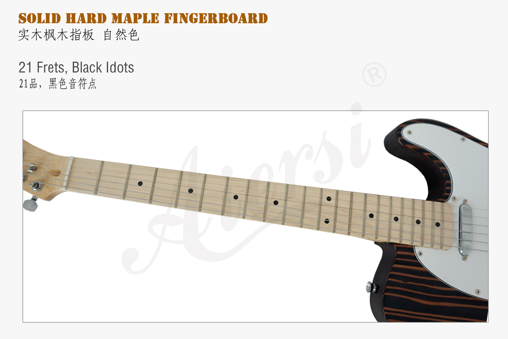 aiersi brand tele style zebrawood body electric guitar  (4)