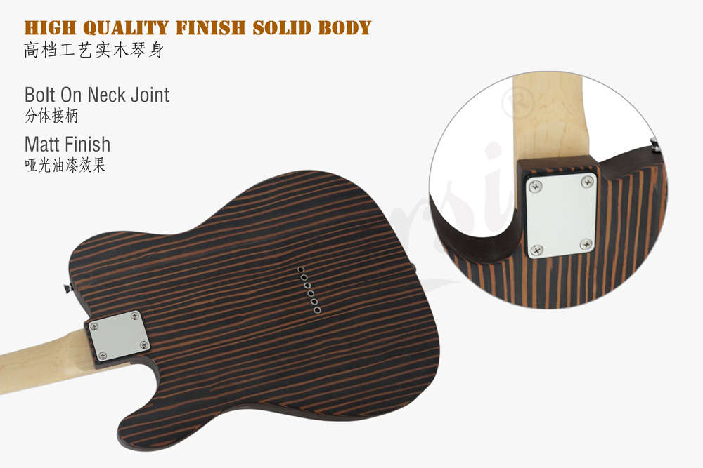 aiersi brand tele style zebrawood body electric guitar  (6)