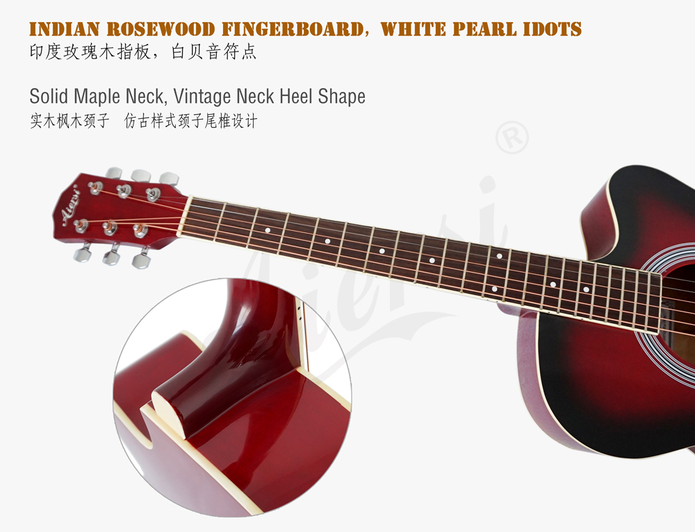 38 inch cutway colour lindewood body acoustic guitar (4)