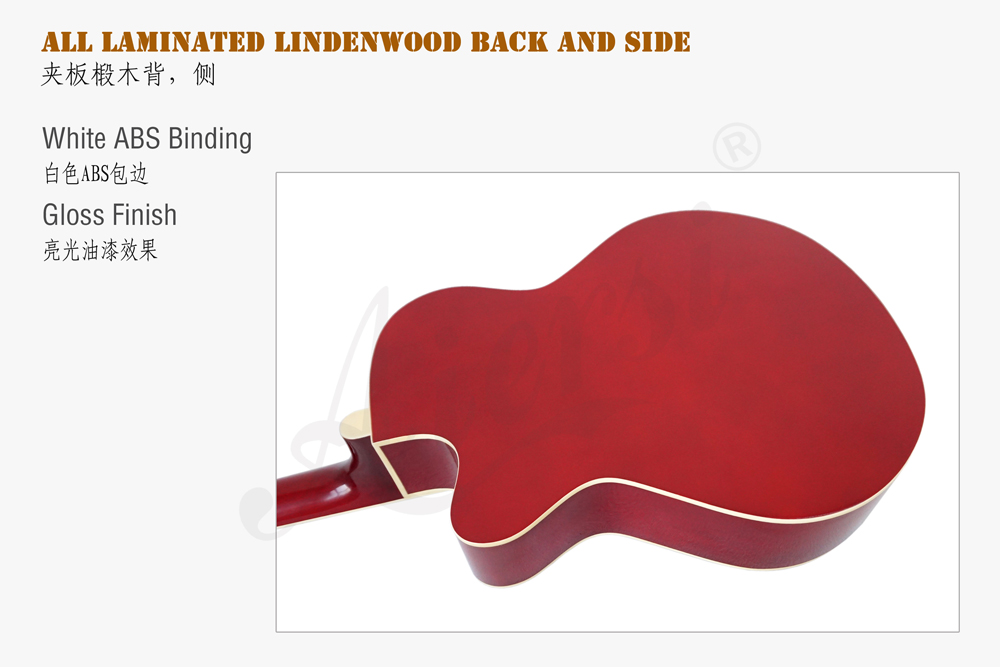 38 inch cutway colour lindewood body acoustic guitar (6)