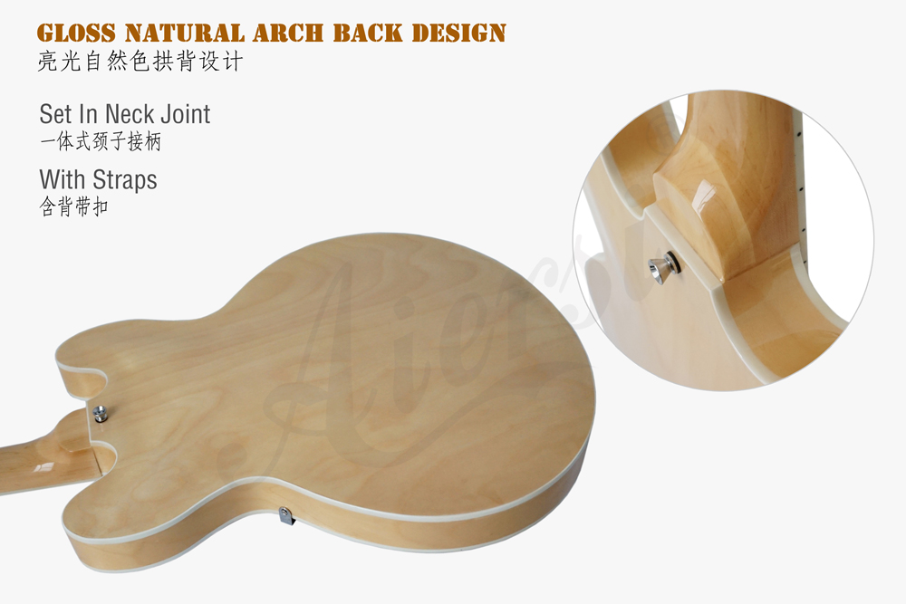 Aiersi brand 335 style hollow body jazz guitar  (6)