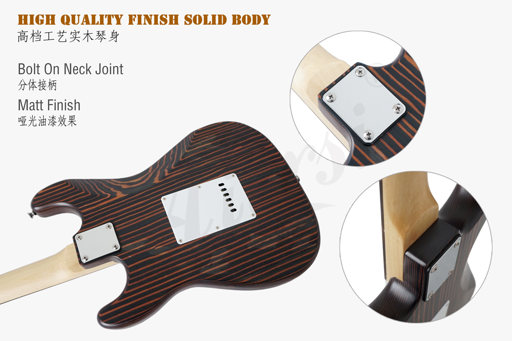 Aiersi brand solid zebrawood  starto style electric guitar  (6)