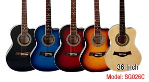 Aiersi Brand 36 Inch Small Body Cutway Lindenwood Colour Acoustic Guitar Model SG026C