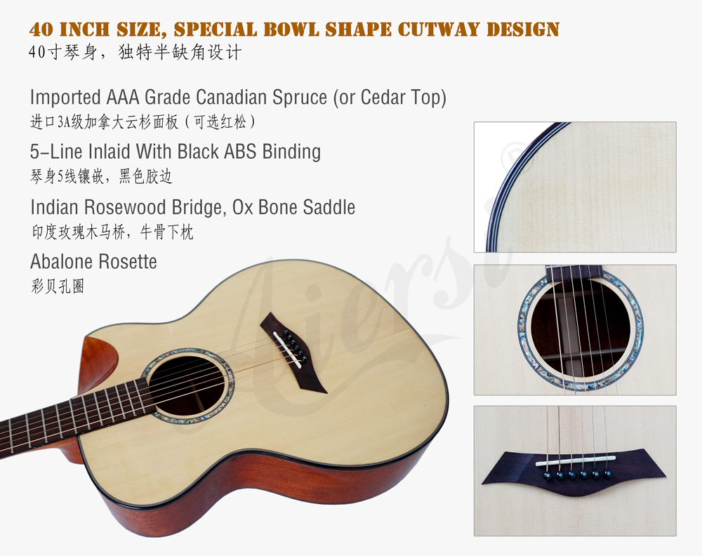 aiersi brand 40 OM style acoustic guitar  (2)