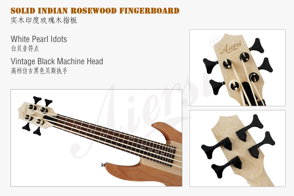 Aiersi brand solid mahognay body electric bass ukulele  (3)