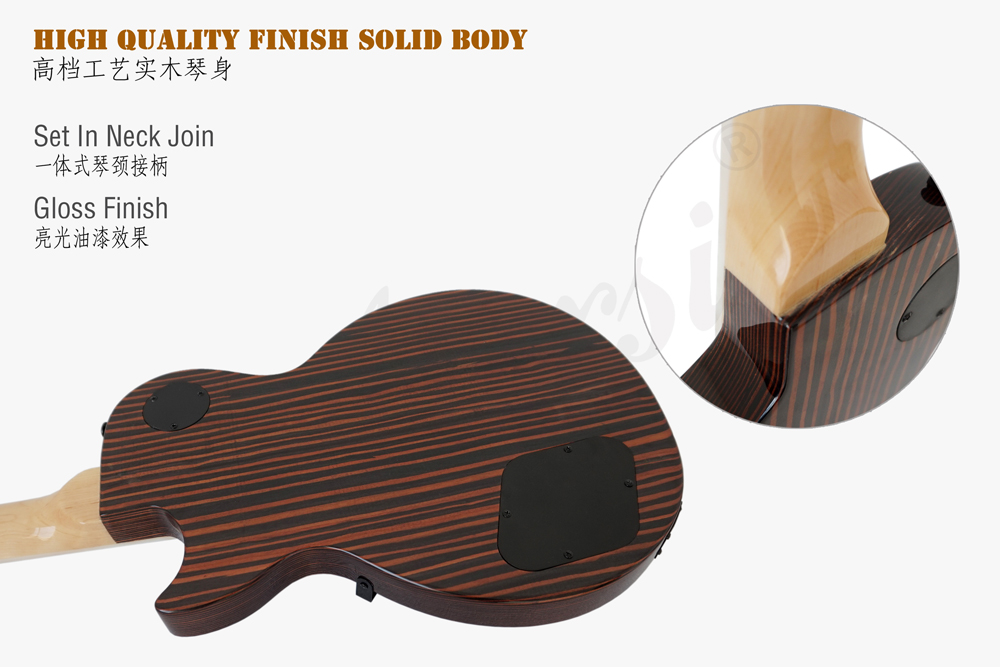 aiersi brand zebrawood body LP style guitar (6)