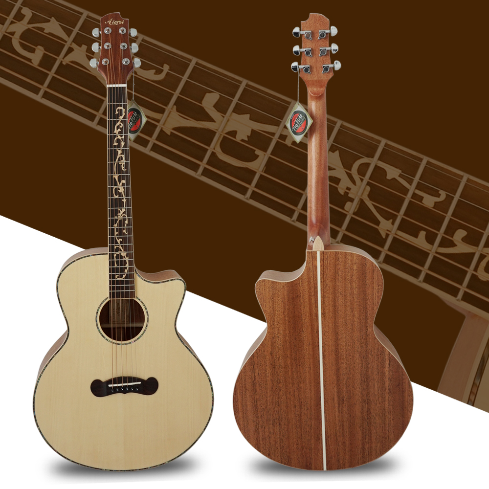 Best Price Top Solid Acoustic Guitar From Aiersi Factory With New DesignSG02SMCS 40